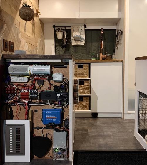Electrics panel in sprinter van conversion