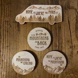 Van Life Mountain Wooden Sticker Bundle