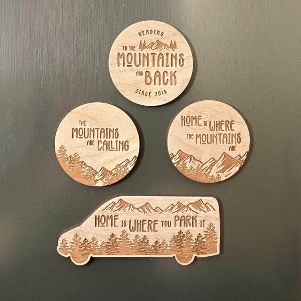 Van Life Mountain Wooden Magnet Bundle