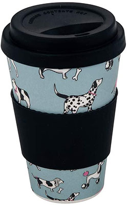 bamboo travel mugs are perfect gifts for outdoor lovers and this one with a dog design and silicone sleeve is ideal!