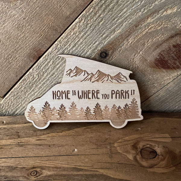 Home is Where You Park It Pop Top Camper Sticker shown in our van