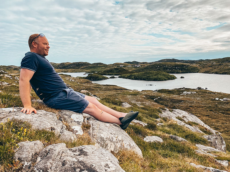mahabis curve canvas slippers worn to explore rocky moorland in Harris