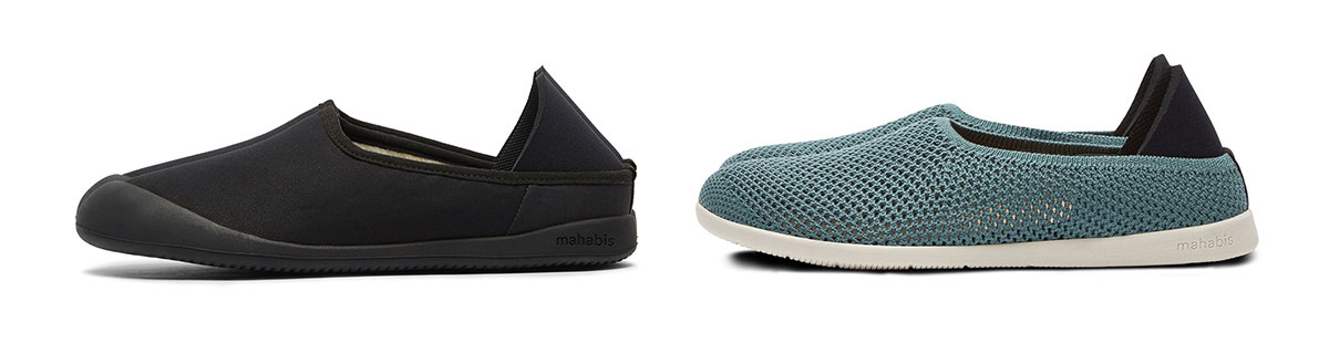 mahabis curve canvas in black and breathe slippers in blue