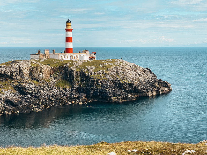 Eilean Glas red and white striped lighthouse on the Isle of Harris